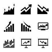 Vector black economic icons set — Stock Vector