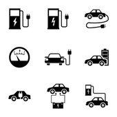 Vector black electric car icons set — Stock Vector