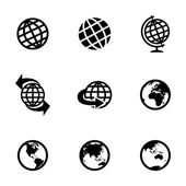 Vector black globe icons set — Stock Vector