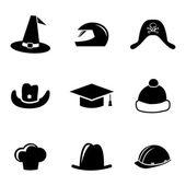 Vector black helmet and hat icons set — Stock Vector