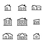 Vector black houses icons set — Stock Vector