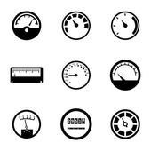Vector black meter icons set — Stock Vector