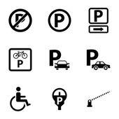 черный парковка векторные иконки установить — Cтоковый вектор