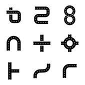 Vector black road elements icons set — Stock Vector