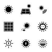 Vector black solar energy icons set — Stock Vector