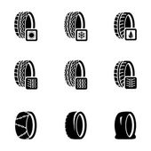 Vector black tire icon set — Stock Vector