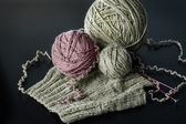 Knitting from natural wool — Stock Photo
