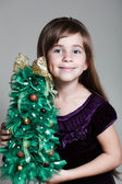 Сaucasian Six Year Old Girl Christmas Tree — Stock Photo