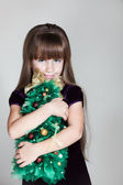 Сaucasian Six Year Old Girl With Christmas Tree — Stock Photo
