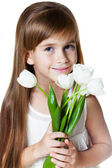 Caucasian Girl-Kid with Bunch of Flowers — Stock Photo