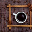 Cup of Coffee in Cinnamon Sticks Frame — Stock Photo
