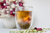 Flowering Tea and Dry Flowers — Stock Photo