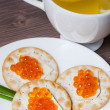 Red Caviar Holiday Breakfast — Stock Photo