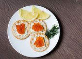 Red Caviar Breakfast — Stock Photo
