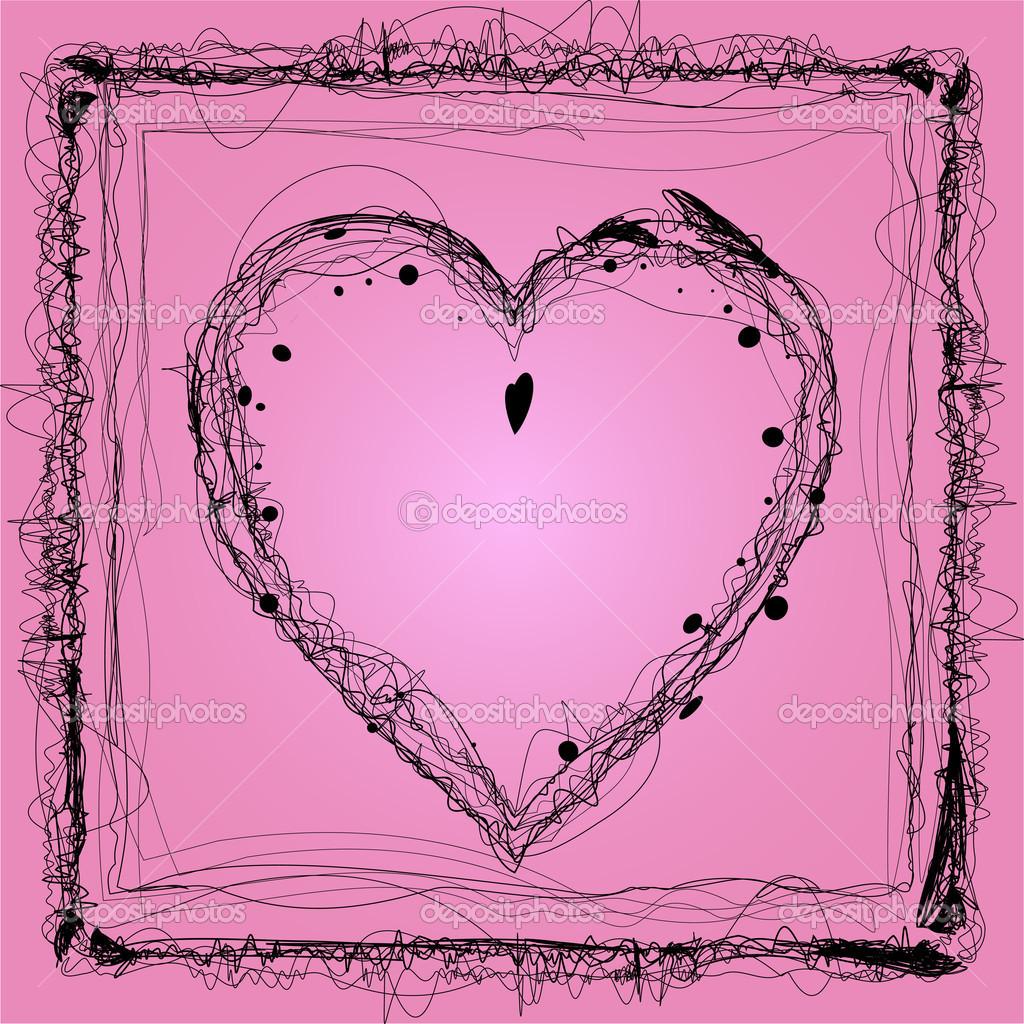 粉红色的背景上的卷发心