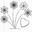 Drawing flowers and heart — Stock Vector