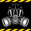 Gas mask on black background — Stock Vector