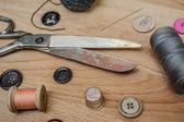 Scissors, needle, thread and thimble — Stock Photo