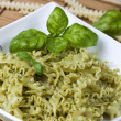 Italian pasta with pesto - Stock Photo