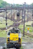 Yellow Locomotive and exchanger — Stock Photo