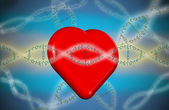 Valentine heart with love dna — Stock Photo