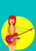Sexy girl playing electric guitar — Vector de stock