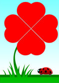 Beetle facing a red shamrock with four foils — Cтоковый вектор