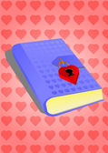 Blue diary with a padlock on little hearts — Vector de stock