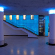 Hall and stairs in blue light — Stock Photo