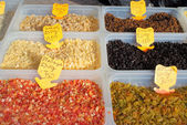 Assorted dried fruits in plastic boxes — Stockfoto