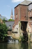 Mill of Arenberg and its waterwheel,Rebecq, Belgium — Stock Photo