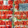 Belgian strawberries in a market — Stock Photo