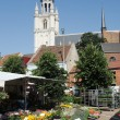 Stock Photo: Flower market in front of Basilicus St Martin, Halle