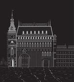 Night building — Stock Vector