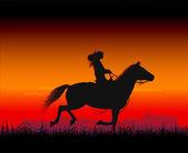 Horsewoman — Stock Vector