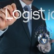 Businessman shows logistics diagram as concept - Stockfoto
