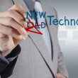 Businessman draws new technology as concept — Stock Photo #18054591