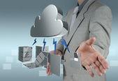 Chmury obliczeniowej diagram na nowy interfejs komputera — Zdjęcie stockowe