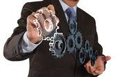 Businessman draws gear to success concept — Stock Photo