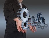 шоу руки бизнесмена связывает с успехом — Стоковое фото