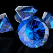 Blue diamond on black — Stock Photo