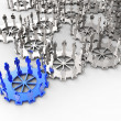 Model of 3d figures on connected cogs — Stock Photo #18064631