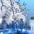 Scientist doctor hand touch virtual molecular structure in the l — Stock Photo
