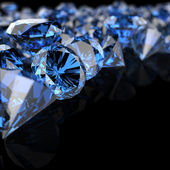 Blue diamonds on black — Stock Photo