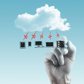 A Cloud Computing diagram on the new computer interface — Stock Photo