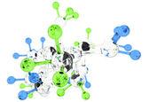 Molekula skleněné 3d barvy — Stock fotografie