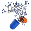 Medical capsule and molecule structure — Stock Photo