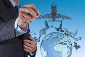 Ręka rysuje podróż samolotem na świecie — Zdjęcie stockowe