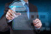 Businessman hand touch a Cloud Computing diagram — Stock Photo