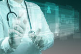 доктор медицины, работы с современной компьютерной — Стоковое фото